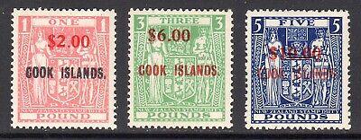 COOK ISLANDS 1967 Postal Fiscal $2-$10 surcharges UM, SG 219-221 cat £355