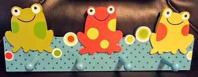 Nursery Wall Pegs (Frog Wall Mounted Coat Rack Pegs Plaque Kid's Room)