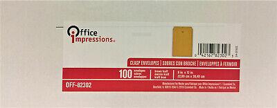 Office Impressions Kraft Clasp Envelopes 9 X 12 28lb Brown Kraft 100box