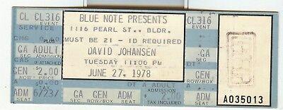 DAVID JOHANSEN In Concert Ticket Stub June 27th 1978 Denver Co Show Blue Note