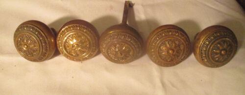 Lot of 5 Antique Bronze Victorian Decorated Doorknobs. (Bag2)