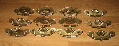 VINTAGE KBC FAN LARGE BRASS DRAWER/ ARMOIRE PULLS SET OF 12