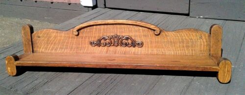 Antique Tiger Oak Mission Style Wall Display Shelf with Gingerbread 1920s Era