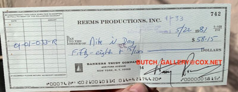 HARRY REEMS signed check PORN STAR autograph