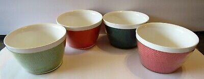 4 Vintage MID CENTURY MODERN Raffiaware Style Bowls~Assorted Colors Burlap Weave