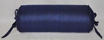 NEW Corded Bolster Neck Roll Pillow made with Navy Blue Dupioni Silk Fabric