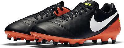 2817f2c4f Nike Tiempo Genio II Leather FG Soccer Cleat Mens 12 Black Orange 819213 018
