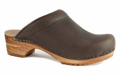 Brown Waxy Leder (Sanita SIRKIT OPEN Clogs Holzclogs brown Yak Waxy Leather braun Leder NEU)