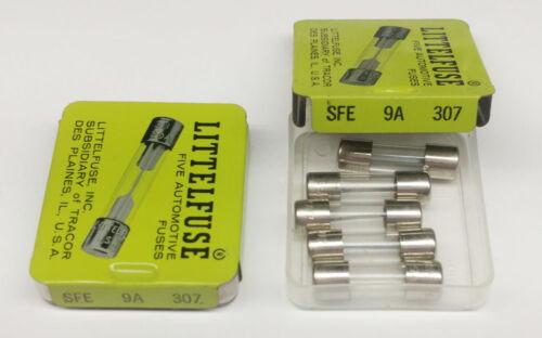 LITTELFUSE 307009   9 AMP OBSOLETE GLASS FUSES- 10 pcs