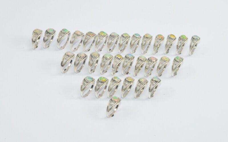 Wholesale31PC925 Solid Sterling Silver NATURAL ETHIOPIAN OPAL RING Lot GTC019 Z8