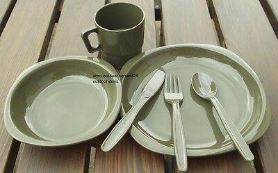 Campingset Kunststoff Geschirrset Teller Schüssel Tasse Besteck Essgeschirr