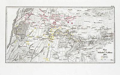 1857 Caldiero Verona Italien Napoleon Dritter Koalitionskrieg Kupferstich-Plan