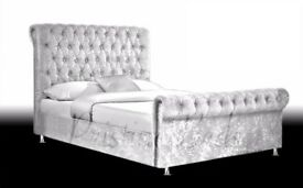 BRAND NEW CRUSHED VELVET IN VARIOUS COLOURS SLEIGH BED + DELIVERY