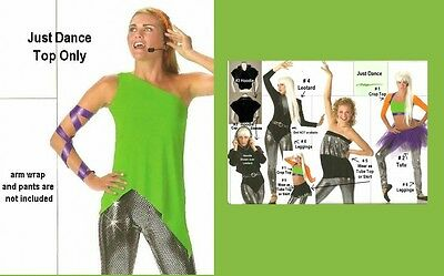 Just Dance Costume TOP ONLY One Shoulder Jazz Tap Adult Small and Adult (Just Dance Kostüm)