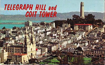 Tower Telegraph Hill (Telegraph Hill, San Francisco Skyline, Coit Tower, Postcard PC California Unused)