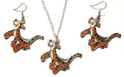 Tigger Winnie The Pooh's Freund Emaille Metall Halskette und Ohrring Set