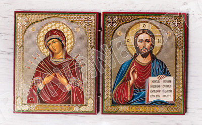 Wood Diptych Travel Icon - Blessed Virgin Mary (Seven Arrows) and Jesus