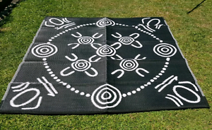 GATHERINGS Aboriginal Design Recycled Mat, Black and white 1.8m Ascot Brisbane North East Preview