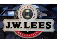 GENUINE JW LEES OUTDOOR PUB SIGN: - PUB SHED, MAN CAVE, WOMANCAVE, HOME BAR, BREWERIANA
