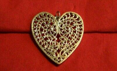 HELEN FICALORA Large Filigree Heart Charm 925 Solid Sterling Silver | RARE Sterling Silver Filigree Heart Charm