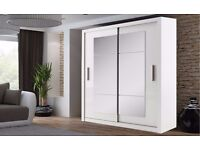 BRAND NEW GERMAN 2-3 DOORS MIRRORED SLIDING WARDROBE IN OAK AND WHITE WITH HANGING RAILS AND SHELVES