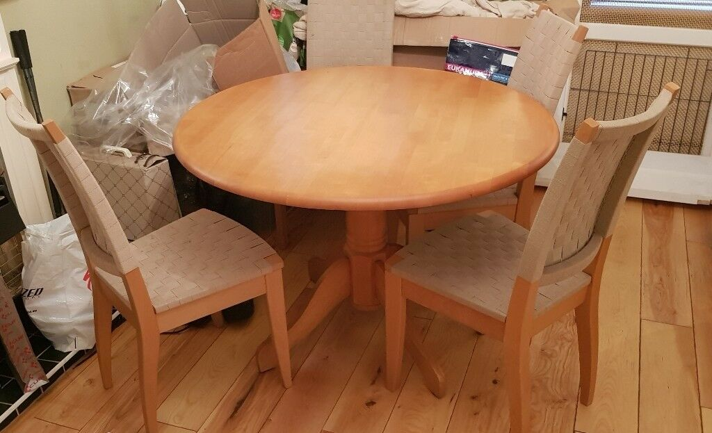 Beech Round Dining Table Rox 41 Across And 4 Matching Chairs Good Used Condition