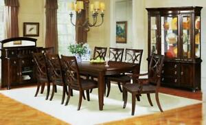 Wooden Dining Table with 6 Designer Chairs (ME217)
