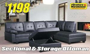 Setional with Chaise & Storage Ottoman