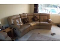 Beige leather suite 4 seater + 2 seater