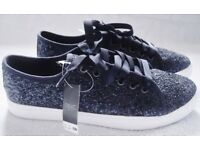 NEXT - BRAND NEW WITH TAGS RRP £28 BLUE GLITTER SPARKLE PUMPS UK 4 - £10