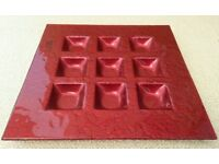 *New Red Square Glass Candle Holder/ T-Light Holder: Contemporary Design Tableware: Dining Christmas