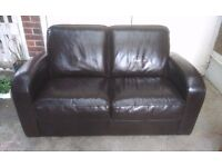 Classic Art Deco style Italian brown leather sofa