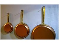 Set of Copper Pans, 5, 7, 9inch. Brass Handles - brand Tagus