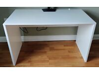 Office Desk / Table, Gloss White with cable management
