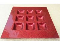 NEW Red Square Glass Candle Holder T-Light Holder Contemporary Designer Ornament Tableware Glassware