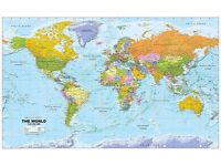 Brand new World Political Wall Map - 1:20m Scale - Paper