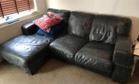Black Leather Sofa & Snuggle Seat
