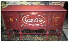 40's Vintage Hand Painted Upcycled Sideboard painted in in red with vintage Coke Logo. Free Delivery
