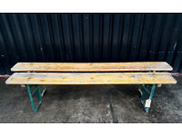 Pair of Rustic Folding Pine Benches