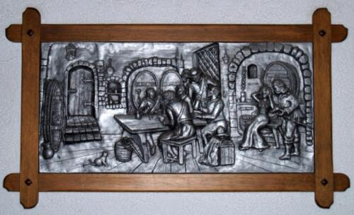 Wandbild Trinkgelage Holzrahmen Partykeller Kneipe Esszimmer In
