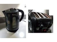 black kettle and 4 sliced toaster - pre loved & free tea coffee & sugar canisters