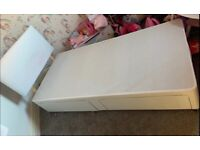 Leather style white divan bed base with headboard and 2 drawers