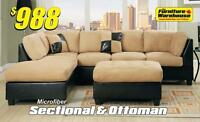 Sectional with Chaise and Ottoman Only $988
