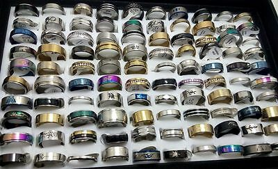 NEW 100pcs MIX LOT Stainless Steel rings Wholesale Men Women Fashion Jewelry lot
