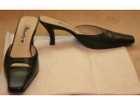 Butterfly, ladies 2 inch kitten heels, size 38, black leather, very good condition made in Spain £10