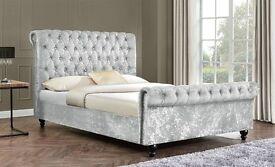 Crushed velvet sleigh design beds