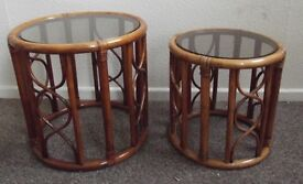 2 x Glass Topped Wicker Side Tables
