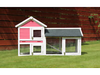 pink rabbit hutch - 4ft long - open to ground.