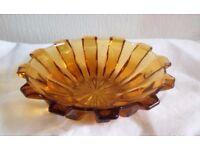 ART DECO Amber Glass Bowl Dish VGC