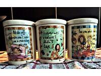 JOHNSON BROTHERS - BORN TO SHOP - SET OF THREE JAR - TEA, COFFEE AND SUGAR
